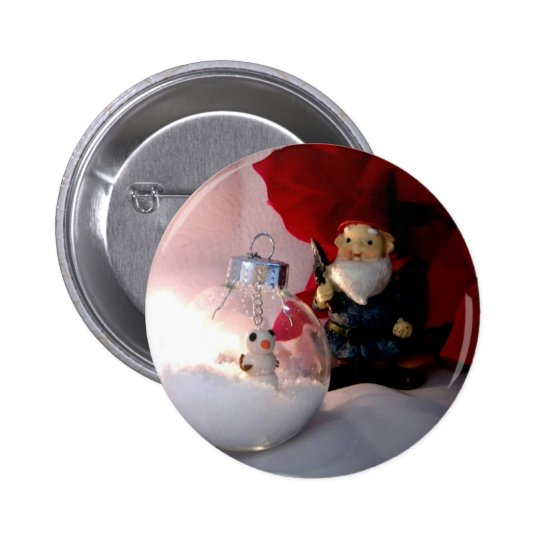Snowman and Gnome Pinback Button