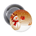 Snowman and Golden Stars Pin
