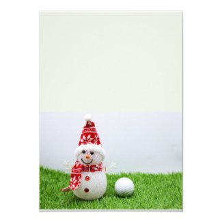 Snowman and golf ball on green grass Christmas Invitation