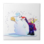 snowman and his girl ceramic tile