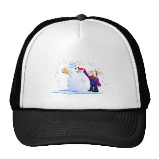 snowman and his girl trucker hat