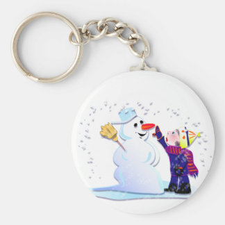 snowman and his girl basic round button keychain