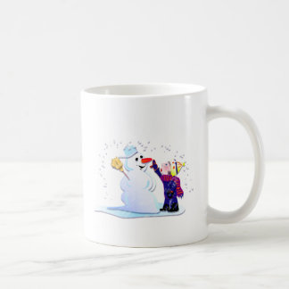 snowman and his girl classic white coffee mug
