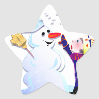 snowman and his girl star stickers