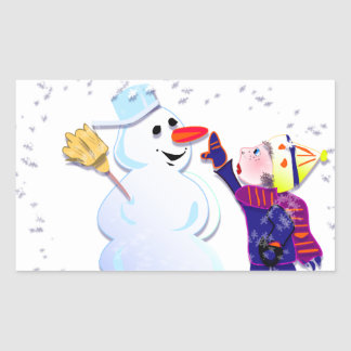 snowman and his girl rectangle stickers
