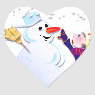 snowman and his girl heart sticker
