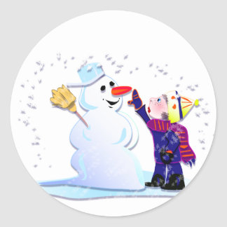 snowman and his girl round stickers