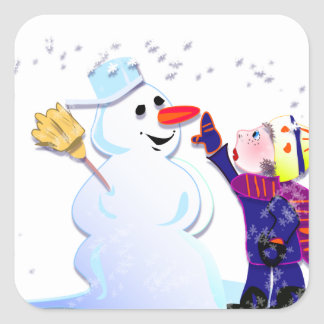 snowman and his girl sticker