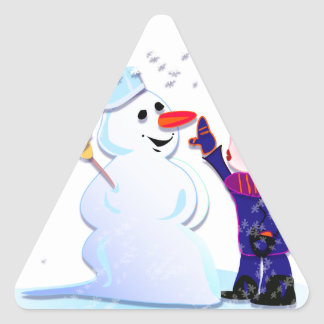snowman and his girl triangle sticker