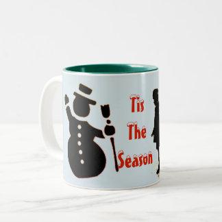 Snowman and Ice-skating Two-Tone Coffee Mug