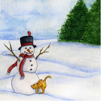 Snowman And Kitty Ornament