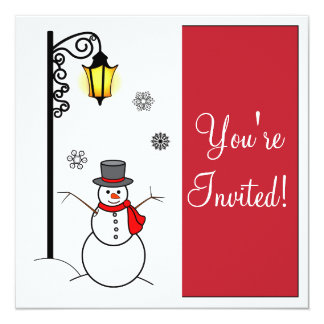 Snowman and Lamppost Christmas Party Invitation