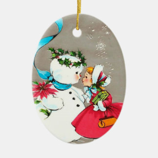 Snowman and Little Girl Ornament