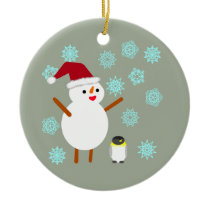 Snowman and Penguin Ceramic Ornament
