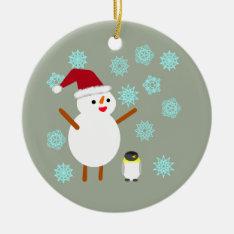 Snowman And Penguin Ceramic Ornament at Zazzle