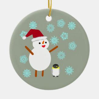 Snowman and Penguin Ceramic Ornament