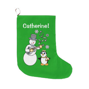 snowman and penguin with guitar name customizable large christmas stocking
