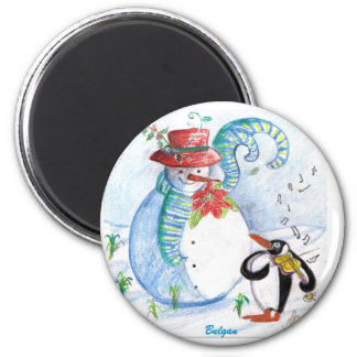 SNOWMAN AND PENGUIN'S WINTER SERENADE 2 INCH ROUND MAGNET