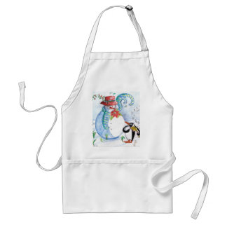 SNOWMAN AND PENGUIN'S WINTER SERENADE ADULT APRON