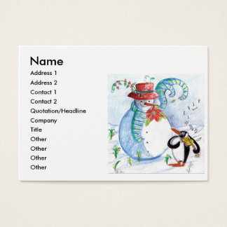 SNOWMAN AND PENGUIN'S WINTER SERENADE BUSINESS CARD