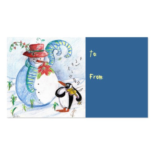 SNOWMAN AND PENGUIN'S WINTER SERENADE Double-Sided STANDARD BUSINESS CARDS (Pack OF 100)