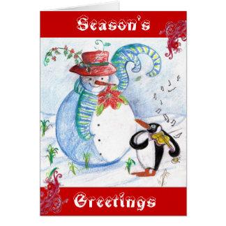 SNOWMAN AND PENGUIN'S WINTER SERENADE CARD