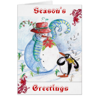 SNOWMAN AND PENGUIN'S WINTER SERENADE CARD