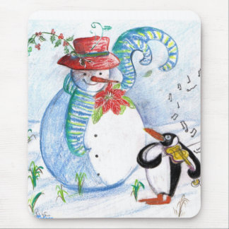 SNOWMAN AND PENGUIN'S WINTER SERENADE MOUSE PAD