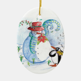 SNOWMAN AND PENGUIN'S WINTER SERENADE Double-Sided OVAL CERAMIC CHRISTMAS ORNAMENT