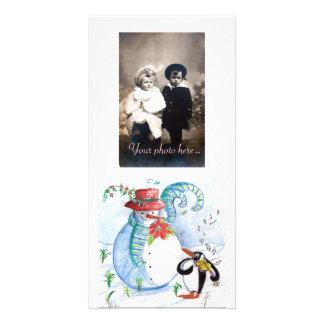 SNOWMAN AND PENGUIN'S WINTER SERENADE PHOTO CARD