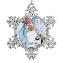SNOWMAN AND PENGUIN'S WINTER SERENADE SNOWFLAKE PEWTER CHRISTMAS ORNAMENT