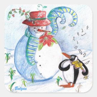 SNOWMAN AND PENGUIN'S WINTER SERENADE SQUARE STICKER