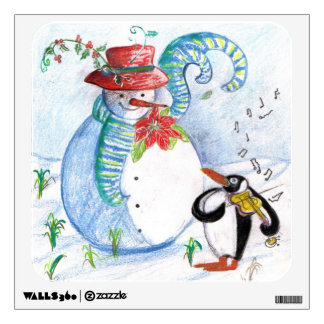 SNOWMAN AND PENGUIN'S WINTER SERENADE WALL DECAL