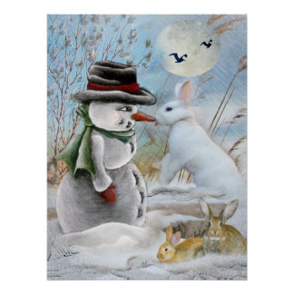 snowman and rabbit eating carrot poster