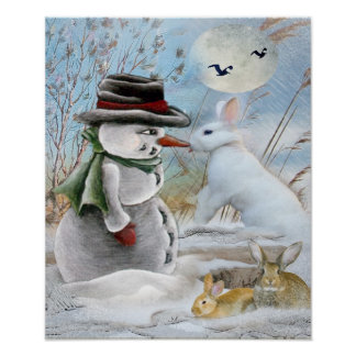 Snowman and rabbit eating carrot print