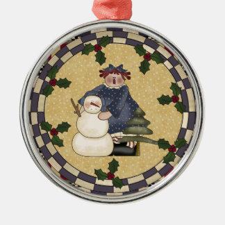 Snowman and Rag Doll Christmas Ornament