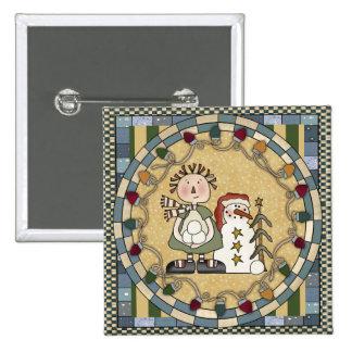 Snowman and Raggedy Annie 2 Inch Square Button