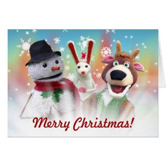 snowman and reindeer Christmas card