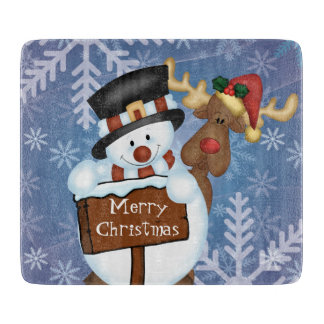 Snowman and Reindeer Merry Christmas Cutting Boards