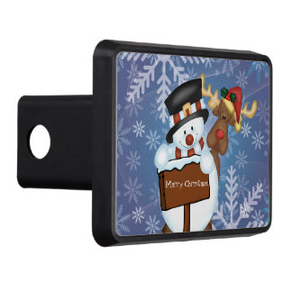 Snowman and Reindeer Merry Christmas Tow Hitch Cover
