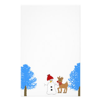 Snowman and Reindeer with Frosty Trees Stationery
