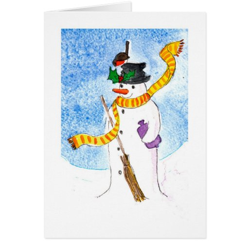 Snowman and Robin Greeting Card