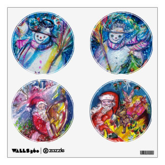 SNOWMAN AND SANTA CIRCLE CHRISTMAS COLLECTION ROOM DECAL