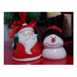 Snowman and Santa Claus Postcard