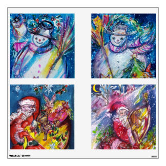 SNOWMAN AND SANTA SQUARE CHRISTMAS COLLECTION WALL SKINS