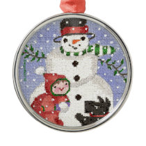 snowman and scotty metal ornament