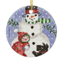 snowman and scotty ornament