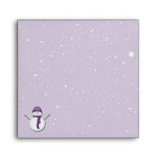 Snowman and Snow in Purple Envelope