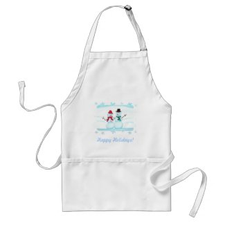 Snowman and Snow Lady Couple Holiday Apron