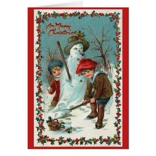 Snowman and Snowballs Vintage Christmas Card